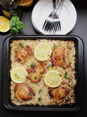 Baked Greek Chicken & Oregano Rice