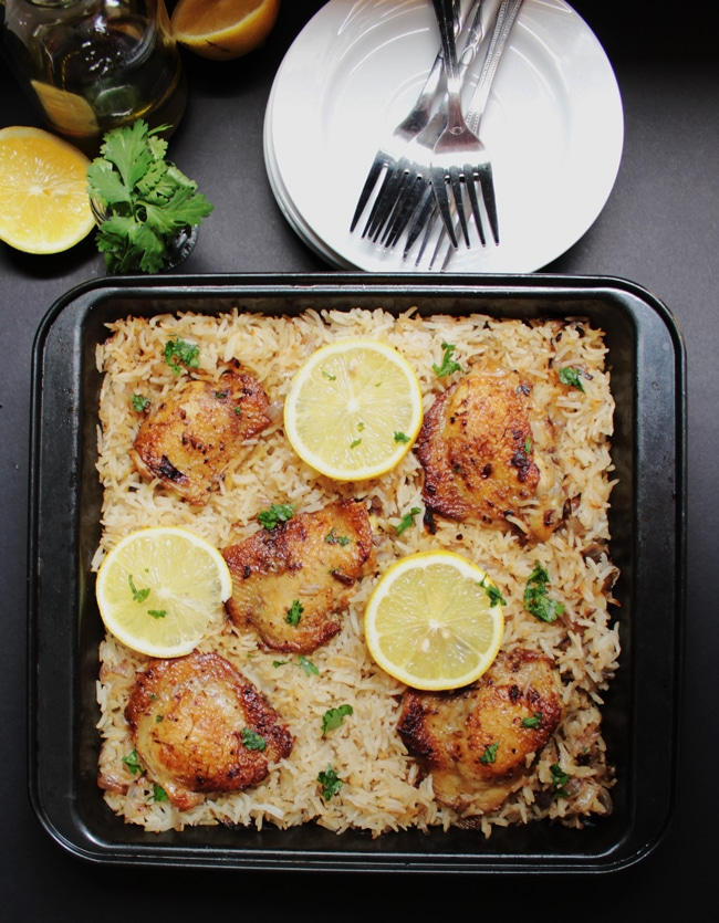 Baked Greek Chicken Amp Oregano Rice I Knead To Eat
