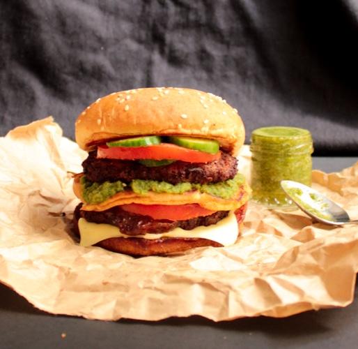 Spicy Chappli Kebab Burgers with Green Goddess Chutney