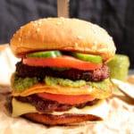 Spicy Chappli Kebab Burger with Green Goddess Chutney