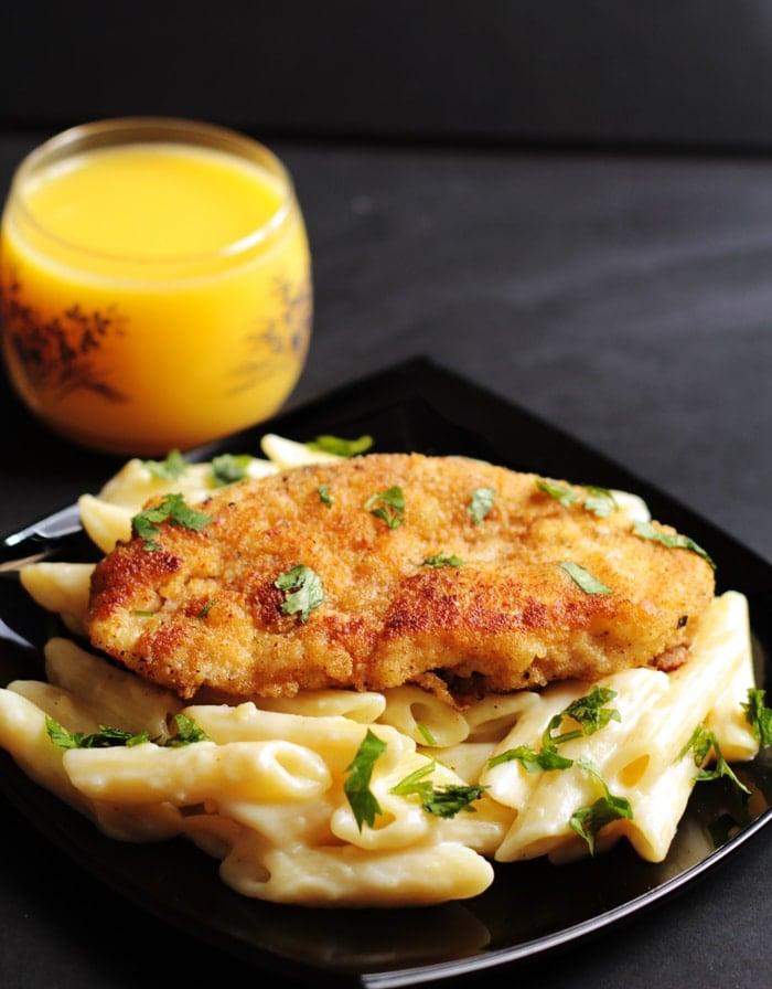 CrispyL emon Chicken with Creamy Garlic Penne Pasta