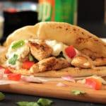 Greek Chicken Souvlaki Pita Wraps with Herb Roasted Potatoes