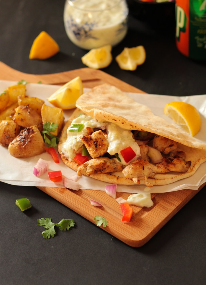 Greek Chicken Souvlaki Wraps with Herb Roasted Potatoes