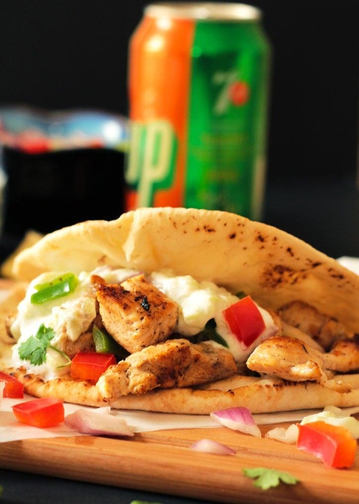 Greek Chicken Souvlaki Wraps with Herb Roasted Potatoes