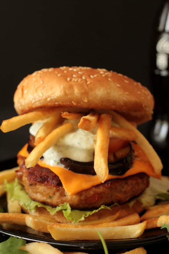 Chicken Burger with Fried Eggplant & Resized 2