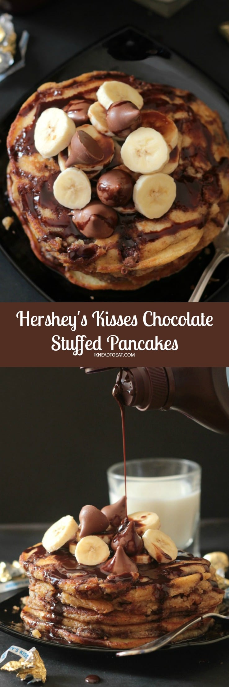 Hershey's Kisses Chocolate Stuffed Pancakes