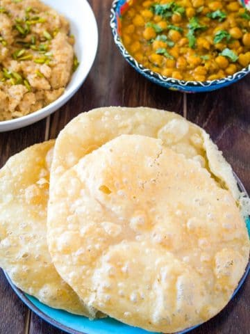 Punjabi Chole Masala served with halwa poori