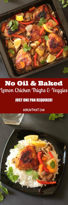 No Oil & Baked Lemon Chicken Thighs & Veggies