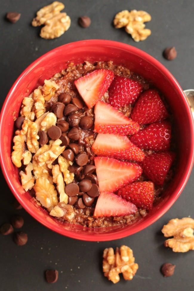 Walnut Brownie Oatmeal Bowl with Strawberries