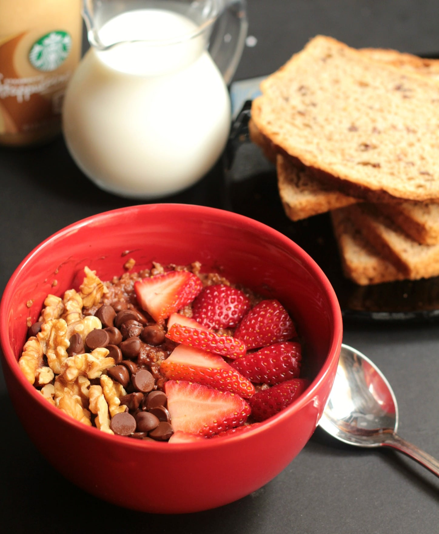 Walnut Brownie Oatmeal Bowl with Strawberries