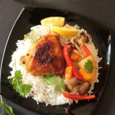 zero oil baked lemon chicken thighs & veggies4