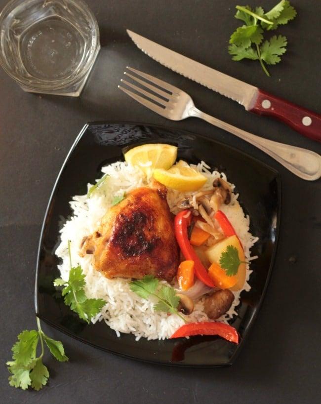 zero oil baked lemon chicken thighs & veggies5