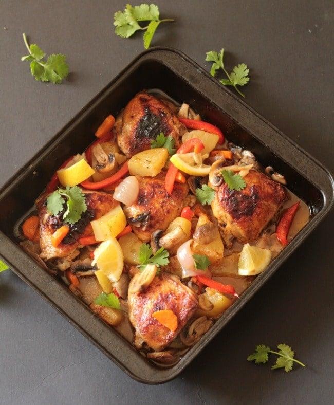 zero oil lemon baked chicken thighs & veggies2