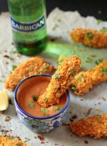 Crispy Baked Chicken Tenders with Garlic Mayo-BBQ Sauce