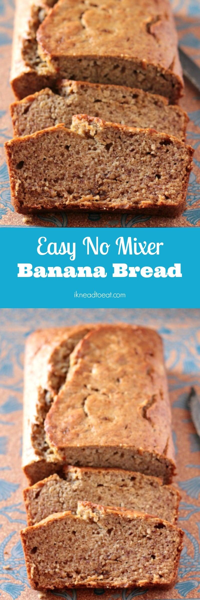 Easy No Mixer Banana Bread