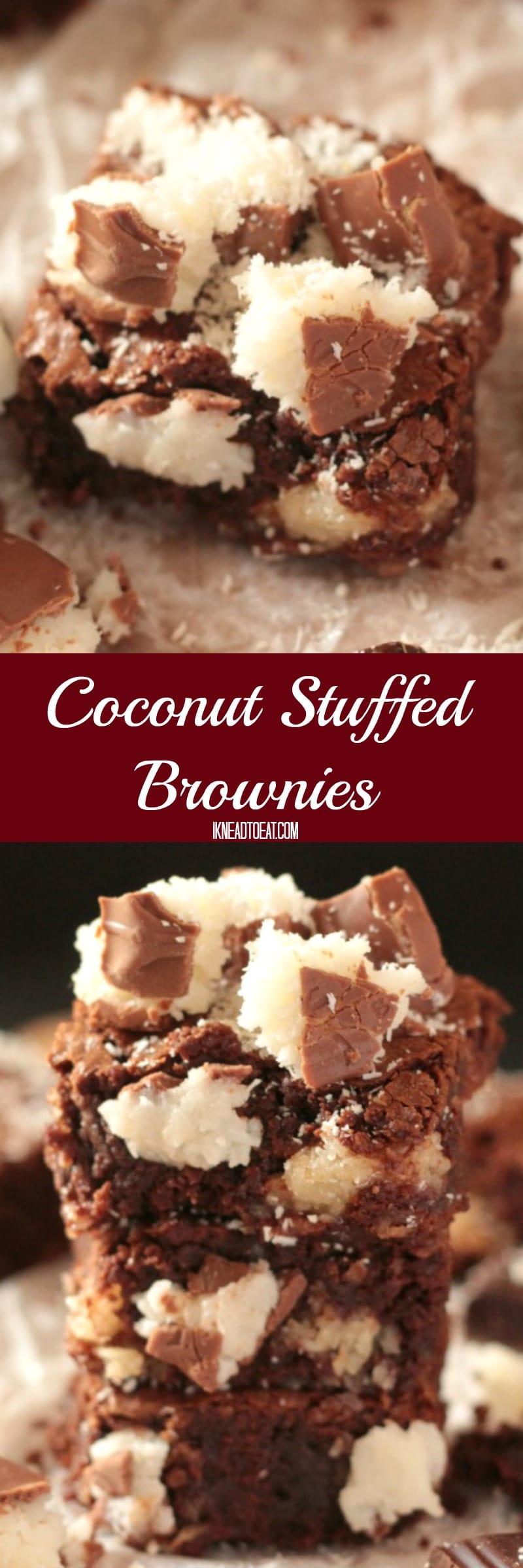 Chewy Coconut Stuffed Brownies