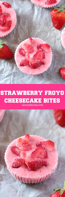 Strawberry Froyo Cheesecake Bites