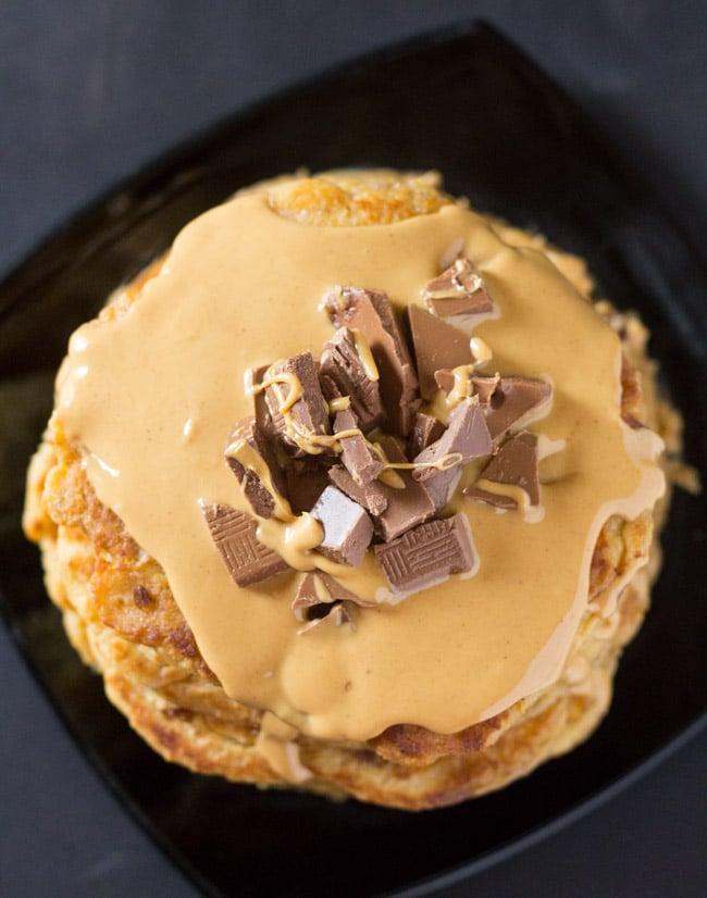 Peanut Butter Chocolate Chunk Oatmeal Pancakes