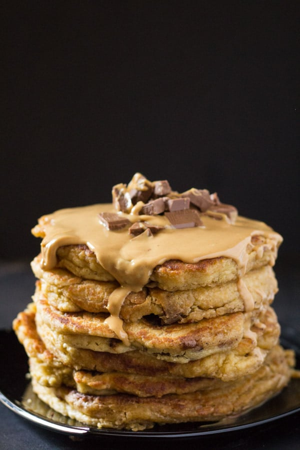 Peanut Butter Chocolate Chunk Oatmeal Pancakes