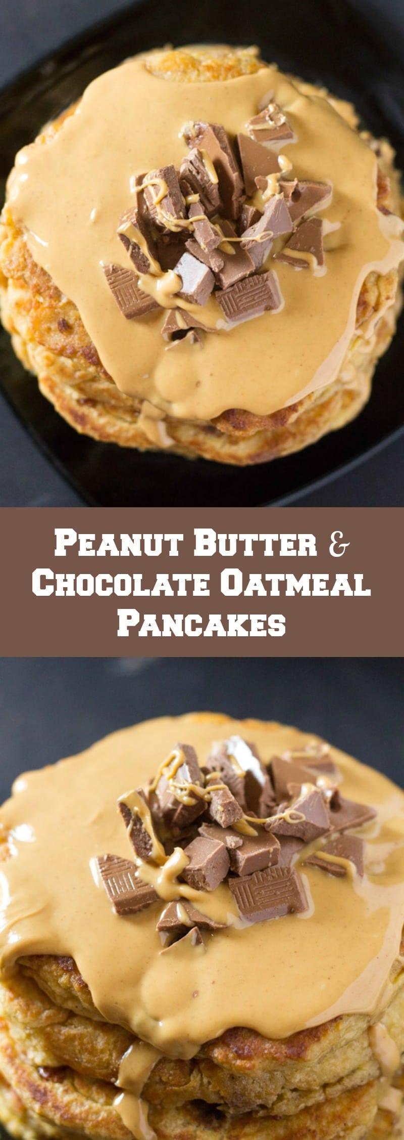 Peanut Butter & Chocolate Chunk Oatmeal Pancakes