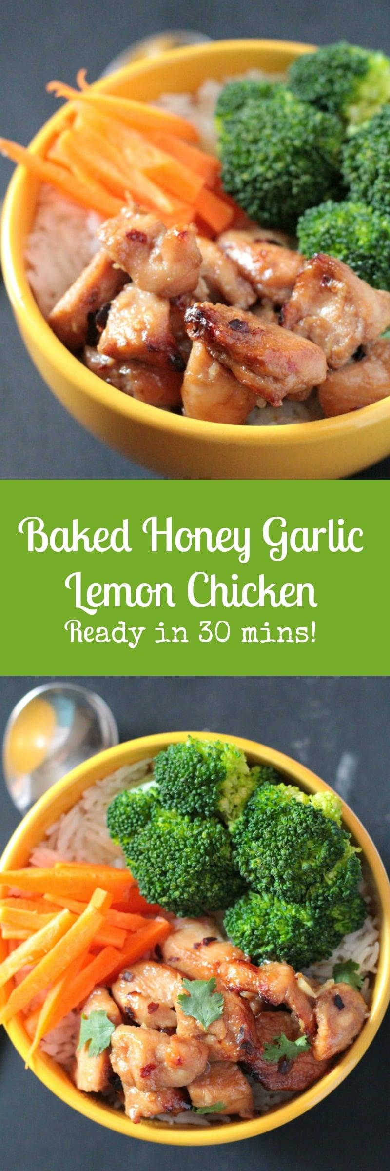 Baked Honey Garlic Lemon Chicken - 30 minute meal!