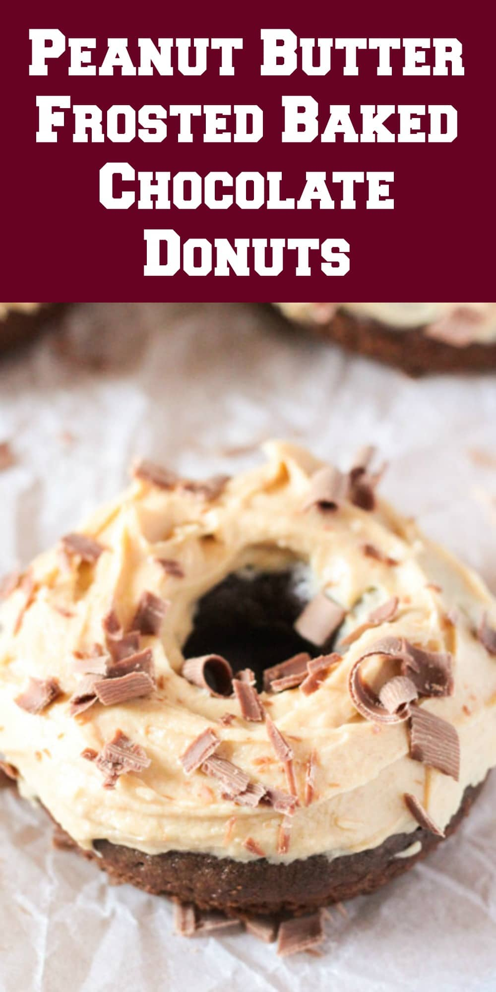 Peanut Butter Frosted Baked Chocolate Donuts
