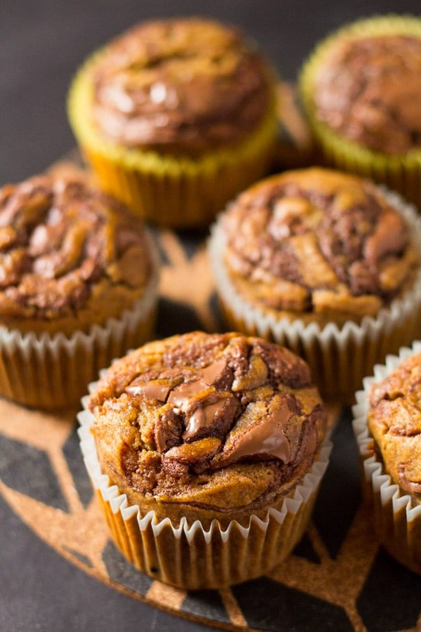Super Moist Pumpkin Nutella Swirl Muffins