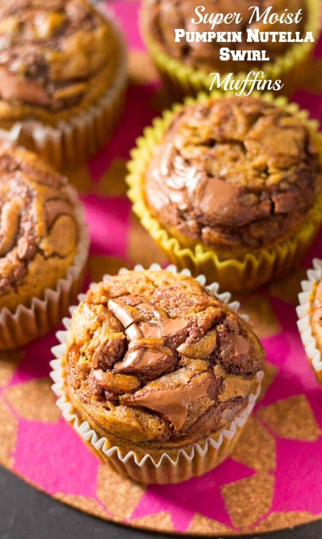 Super Moist Pumpkin Nutella Swirl Muffins