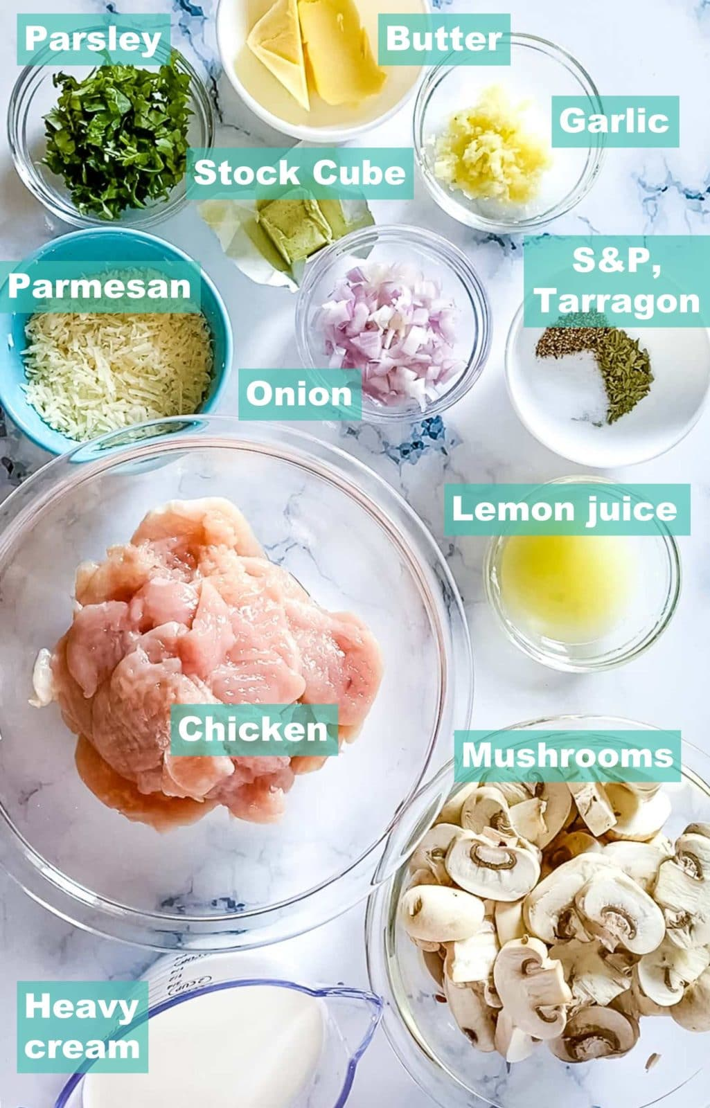 ingredients set up as mis en place for this easy keto chicken recipe