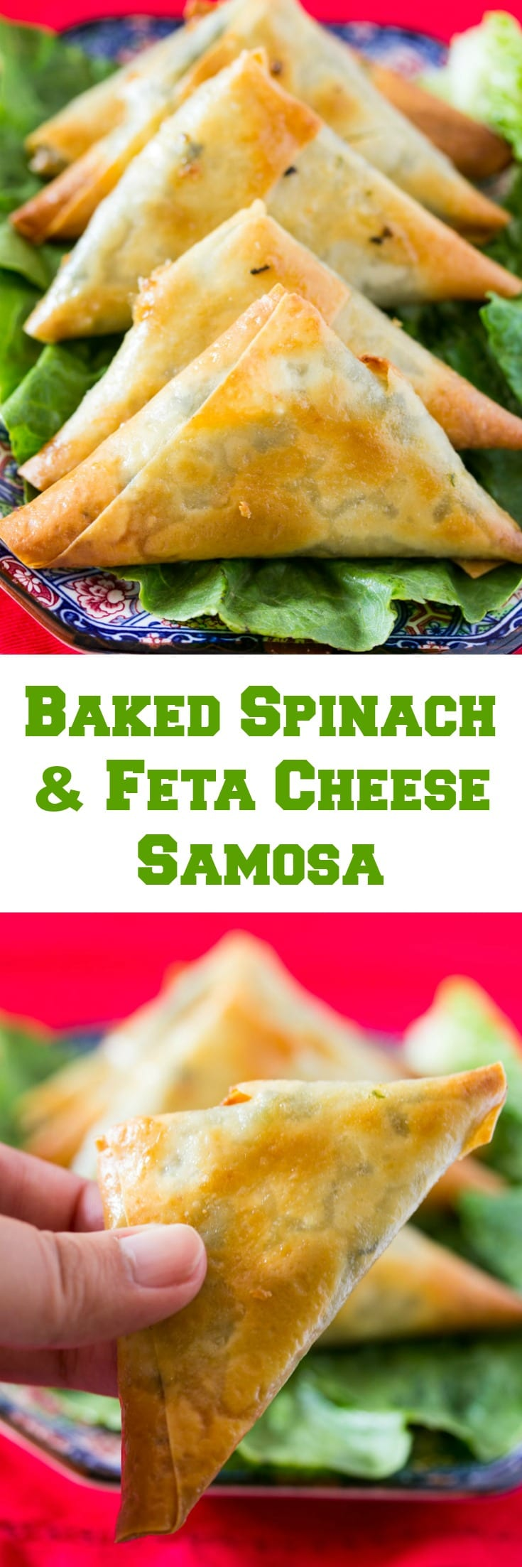 collage of baked spinach and feta cheese filled samosa
