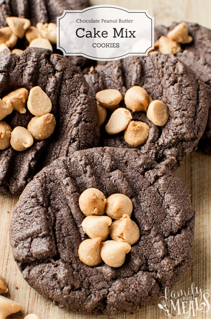 Chocolate Peanut Butter Cake Mix Cookies