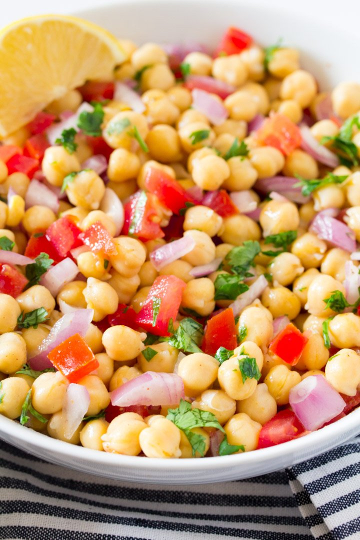chana chaat served in a while bowl