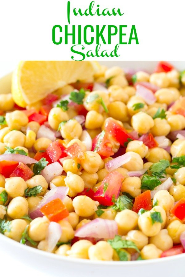pinterest image for chana chaat served in a white bowl
