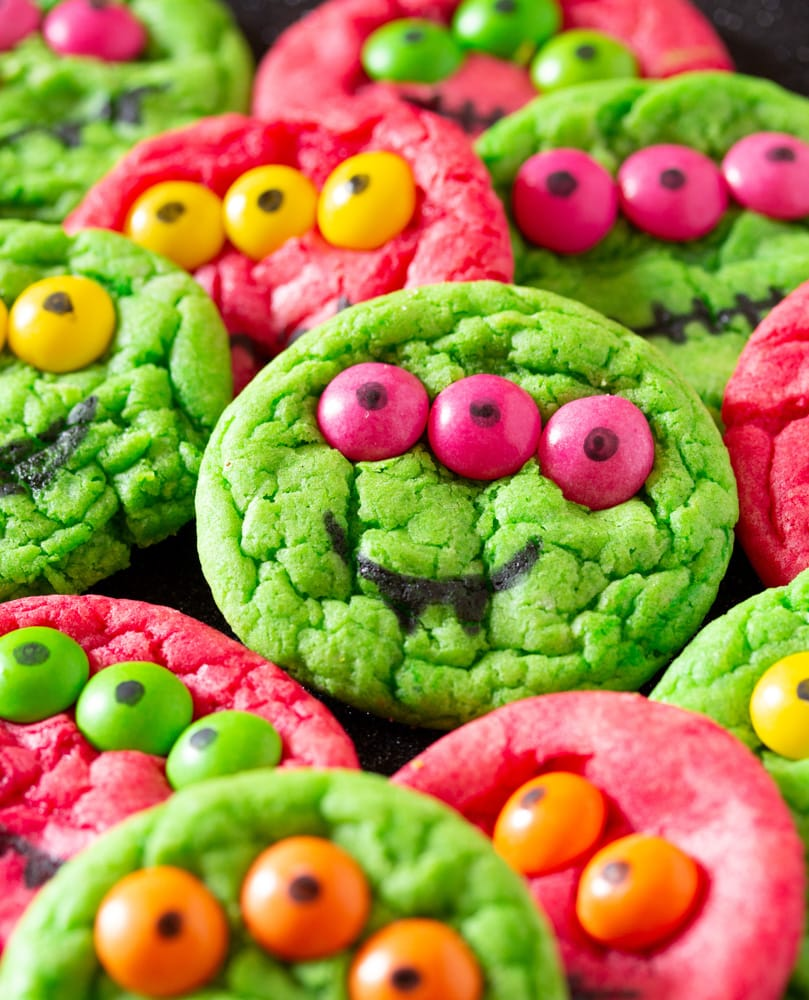 Six Ingredient Cake Mix Halloween Monster Cookies I Knead To Eat
