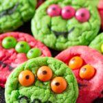 Six-Ingredient Cake Mix Halloween Monster Cookies
