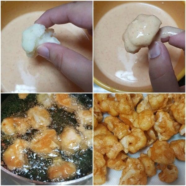 Frying Cauliflower for Gobi Manchurian