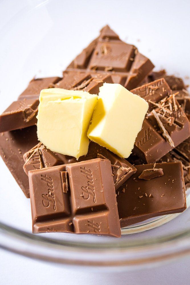 Butter and Chocolate for Eggless Chocolate Mousse
