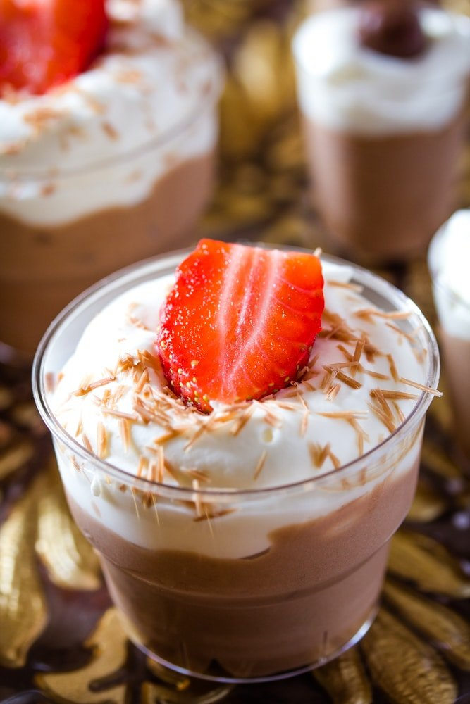 Eggless Chocolate Mousse with Whipped Cream