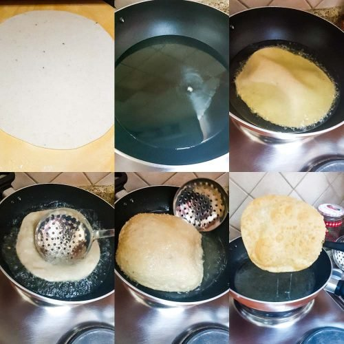 Frying poori in hot oil