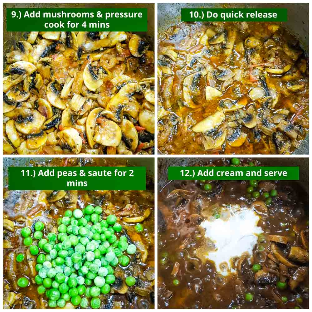 step by step instructions on how to cook mushroom masala in the instant pot.