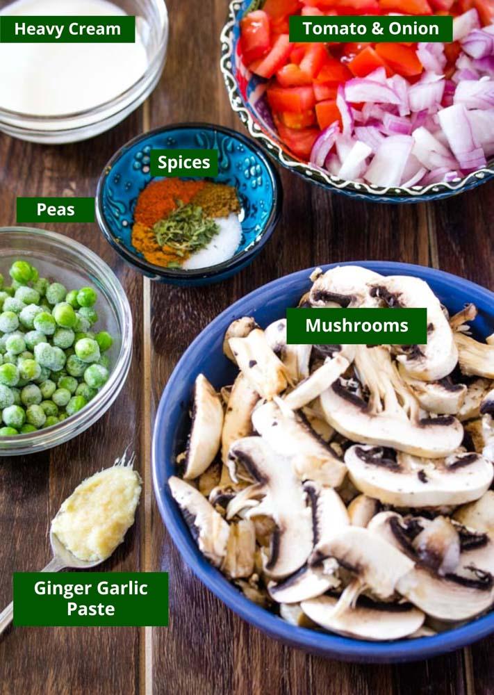 Mushroom Masala Ingredients: Heavy cream Tomato Onion Spices Peas Mushrooms