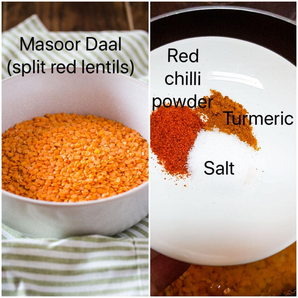 Ingredients needed to make daal: masoor daal (split red lentils), red chilli powder (lal mirch), turmeric powder (haldi), salt (namak)