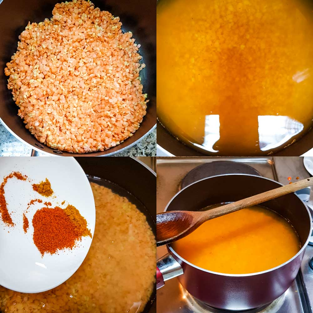 cooking the daal and adding spices in it