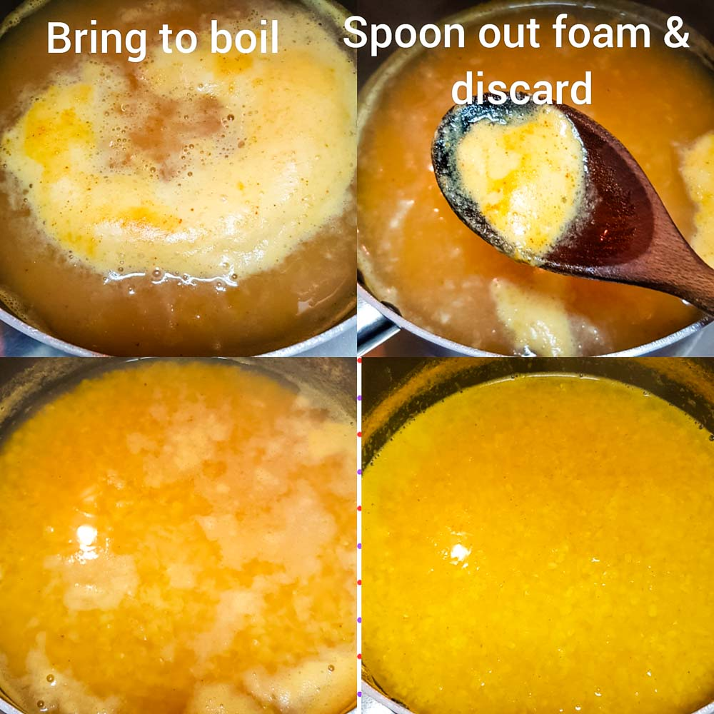 remove the excess white foam from the daal while it's cooking