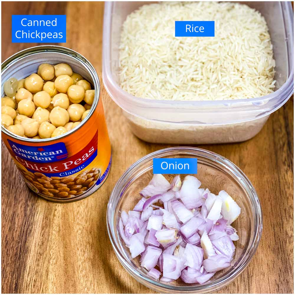 Ingredients for Chana Pulao: Canned chickpeas, basmati rice, and chopped onion
