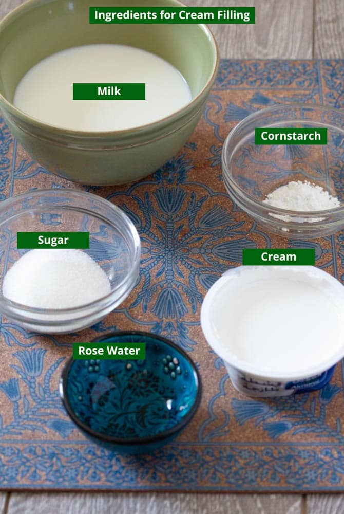 Ingredients for the Cream Filling: Milk, cornstarch, sugar, cream and rose water