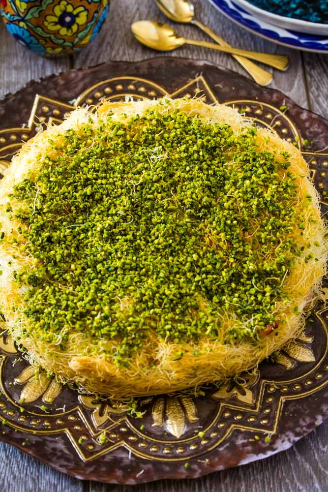 Mozzarella Cheese Kunafa topped with crushed pistachios