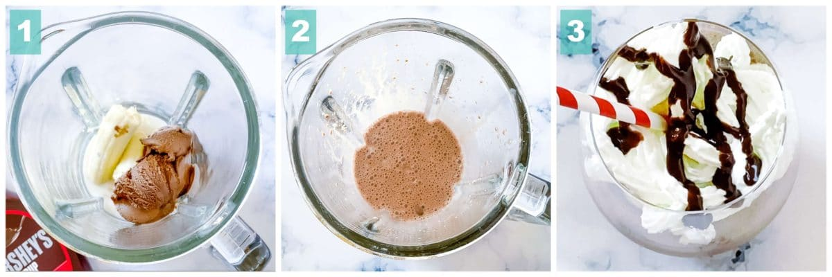 A collage of three pictures conveying on how to make chocolate milkshake.