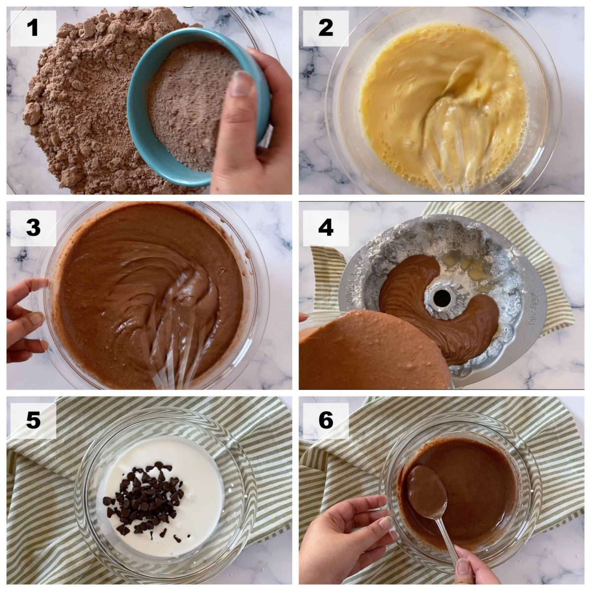 Step by step photos on how to make chocolate bundt cake.
