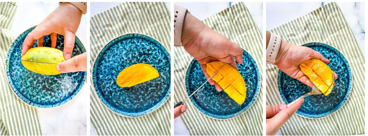 photo collage for how to chop a mango